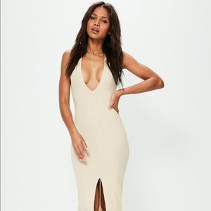 Nude Ribbed Ankle Graze Split Front Maxi Dress
